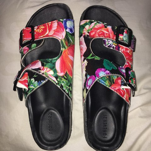 581676bb48dd Forever 21 two buckle Birkenstock style floral sandals