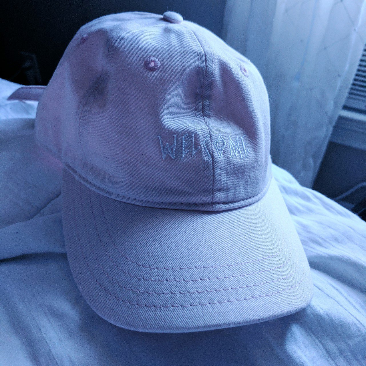 b8e2e93375d Welcome  Scrawl Cap - Light Pink • Only worn once! • In a - Depop