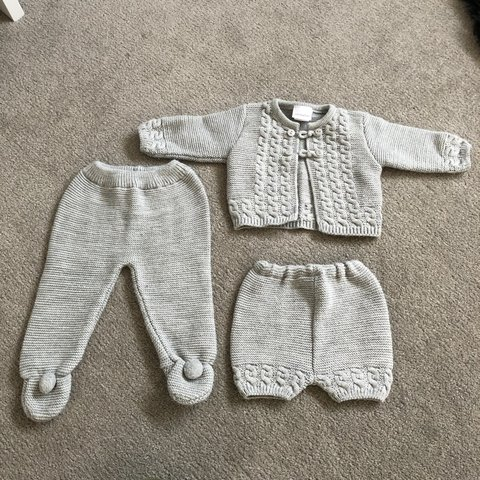 298e8a44b 6-12 months baby Spanish knitwear set. Shorts and cardigan a - Depop