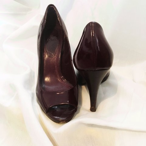 7a62ae7023a6 Size 4 Sophisticated open toe Zara patent heels in deep red - Depop