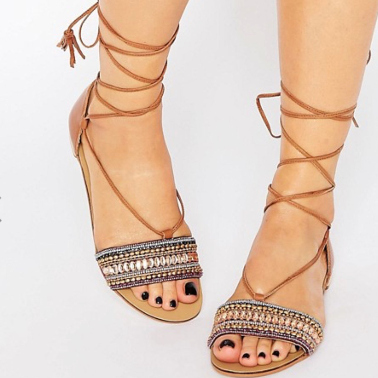 09f6c9b19e00 New look tie up sandals size 6