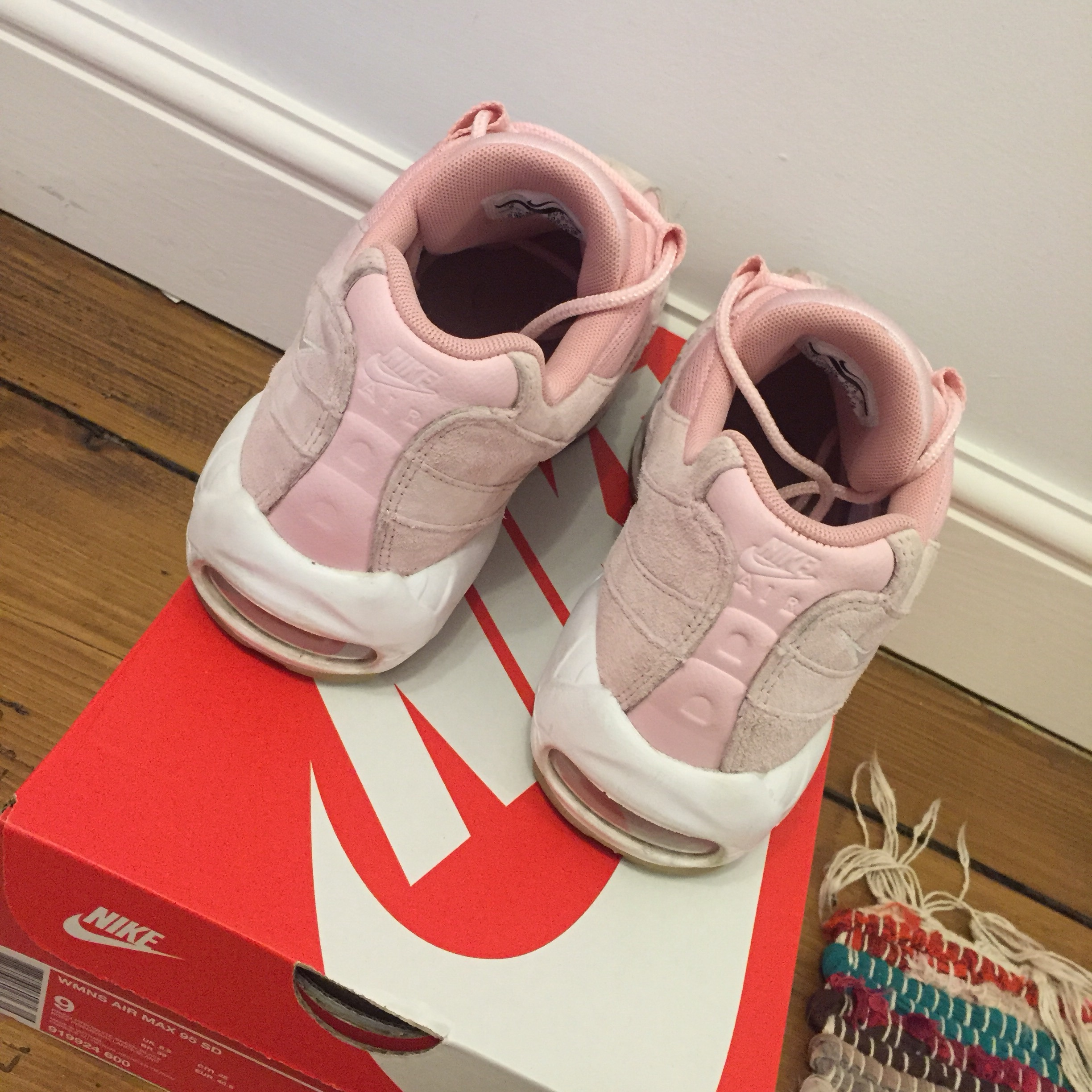 Nike Air Max 95 Prism Pink white sheen, suede Size Depop