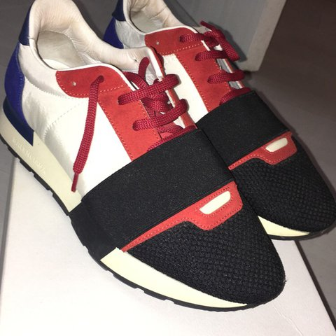 04b098f7694a Balenciaga USA runner sneakers in red white and blue Size a - Depop