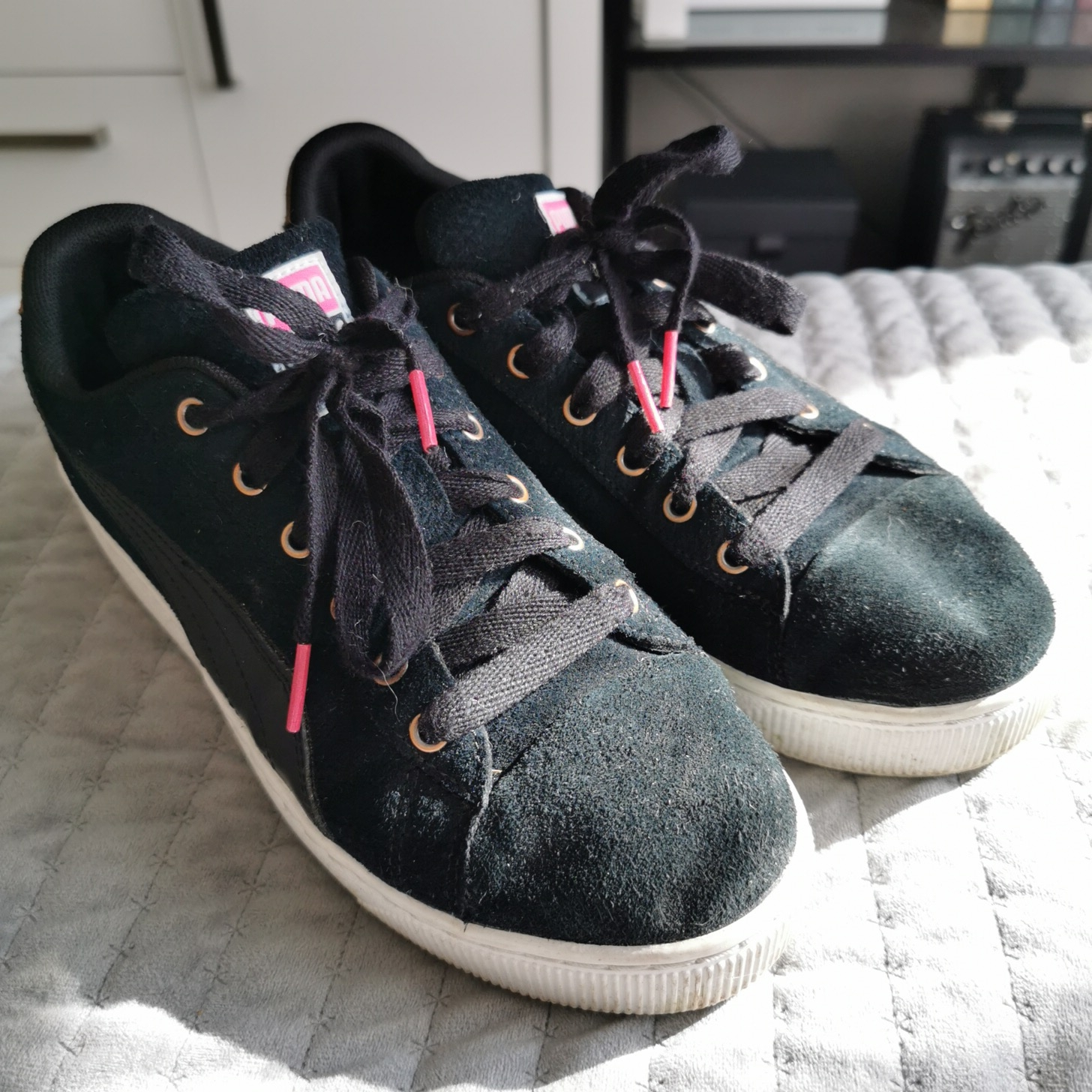 Puma suede thick sole sneakers Good
