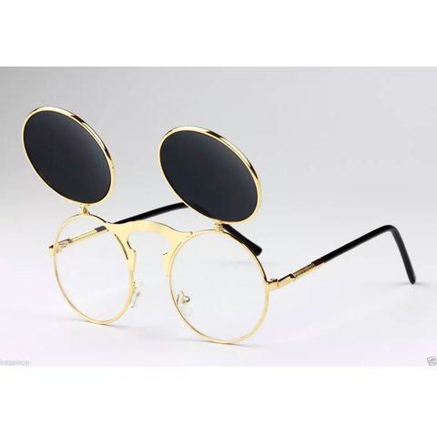 BRAND NEW GOLD FRAME ROUND SUNGLASSES Non prescription to - Depop