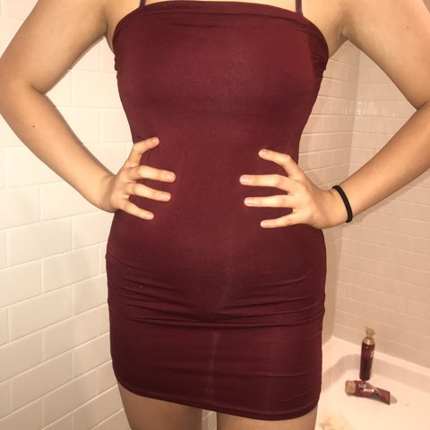 1c2042559b8 Pretty little thing size 6 burgundy body cons bandeau dress