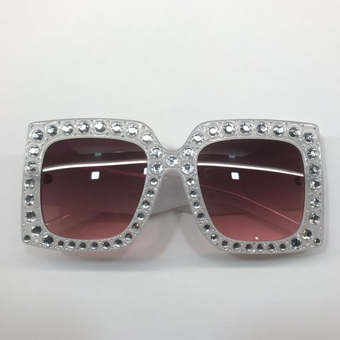 676eadebbb8bb Brand New Rhinestone Oversized Bling Square Women Sunglasses - Depop