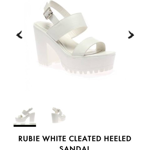 12aeb0f59 Public desire rubie white cleated heeled sandal. Size 7. be - Depop