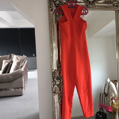 6bdb2fe2420f Aqaq  aquabyaqua  orange  jumpsuit  playsuit  allinone  pink - Depop