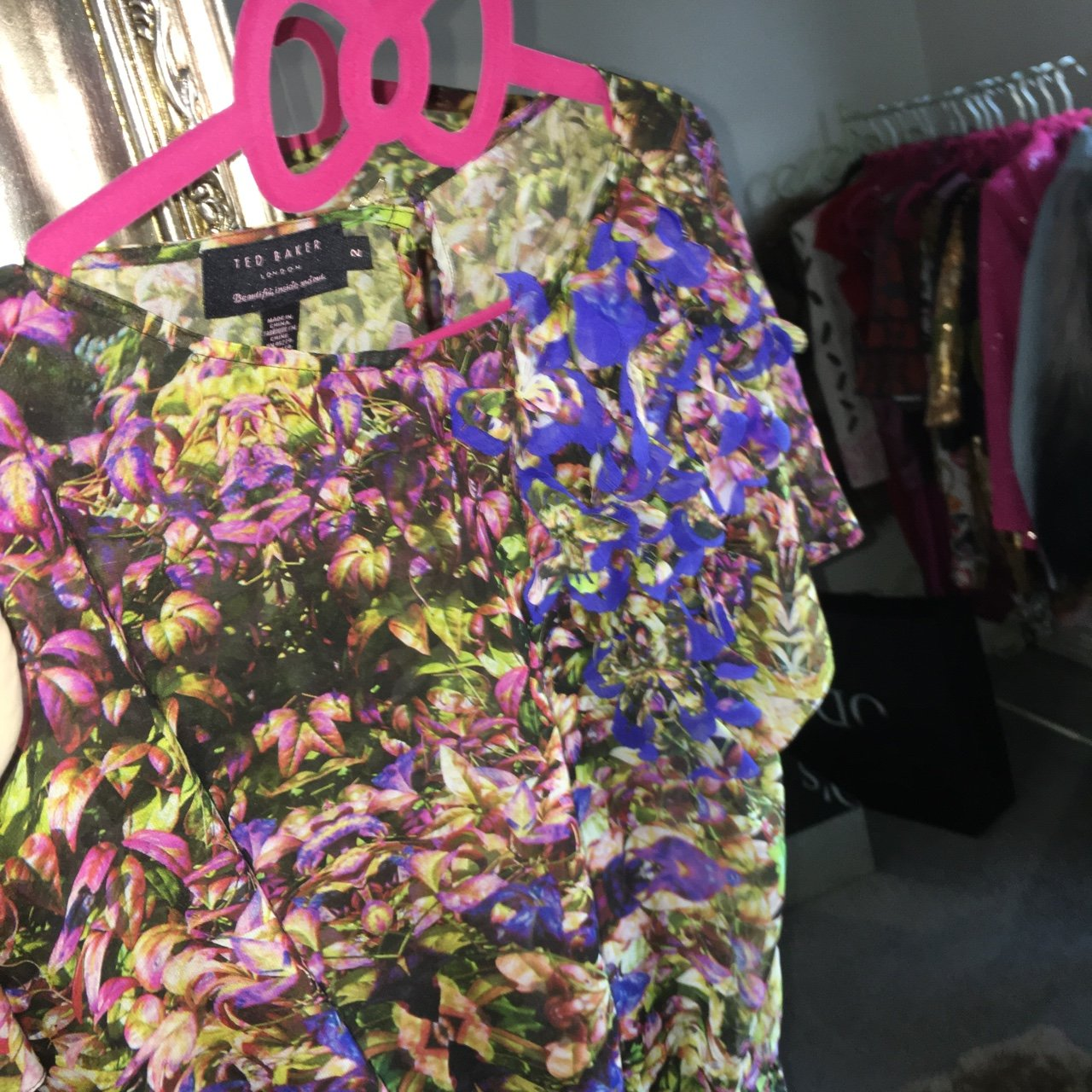 dd4f00e462 Ted baker garden floral top shirt blouse silk size 2 used - Depop