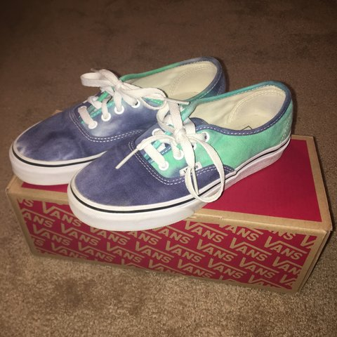 f6e1a18f22 purple   blue   navy   teal   green (multicolored) vans size - Depop