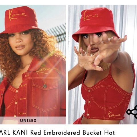 4f1cc2073a193 Want want want red Karl kani bucket hat from pretty little - Depop