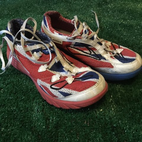 3bc5bef005e Brooks green silence running shoes with Union Jack design. a - Depop