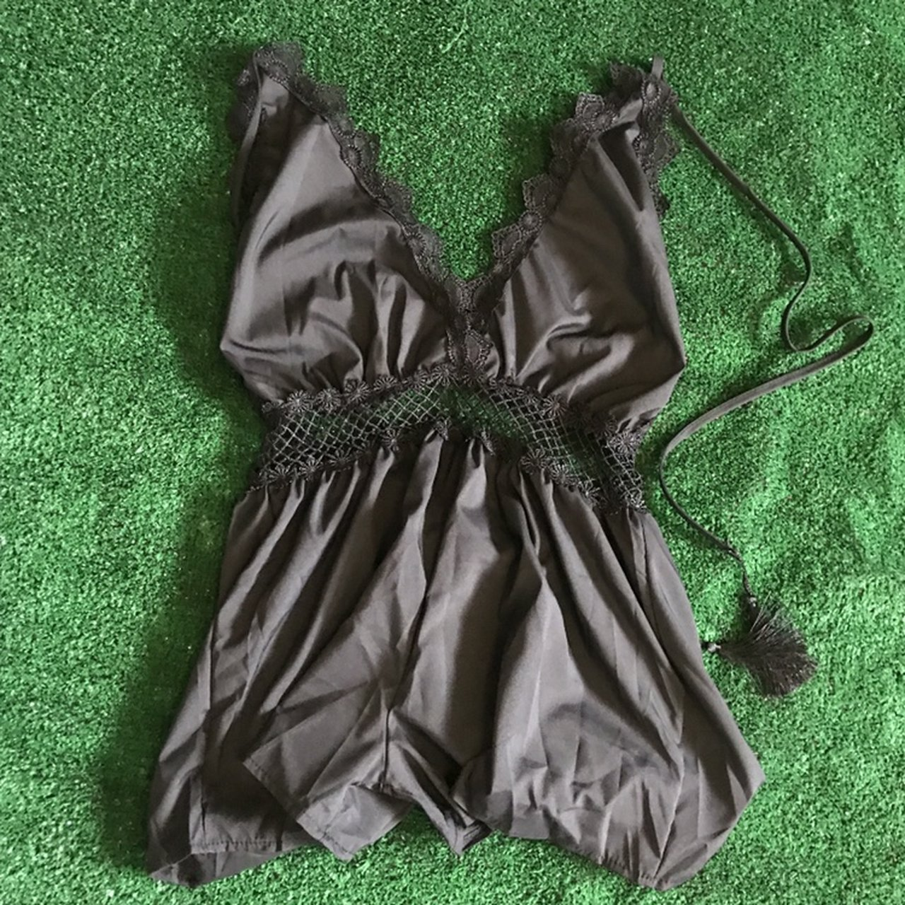 88aabaef3a Deep V romper play suit! Lace details. Halter ties with back - Depop