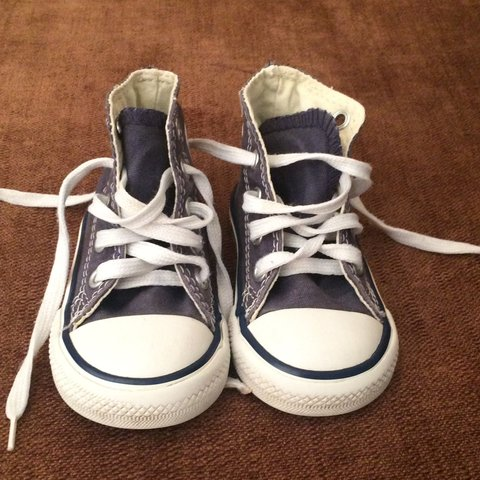 79968dd630b6e0 Grey blue baby converse allstar UK size 3.  kids one of the - Depop