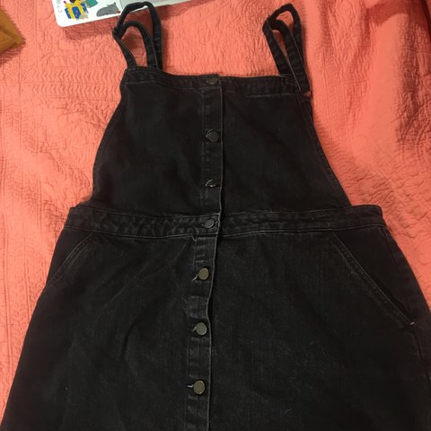 92ab134f50d perfect condition black denim overall dress! you need this - Depop