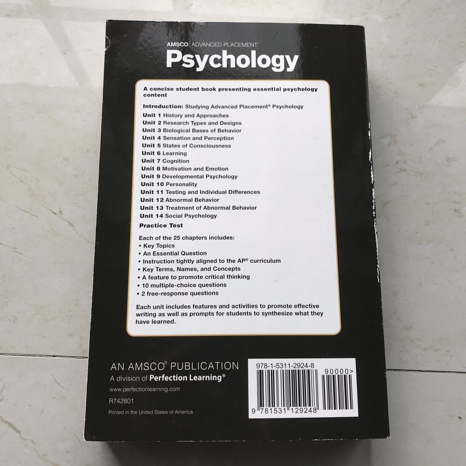 selling my amsco ap psychology book with practice    - Depop