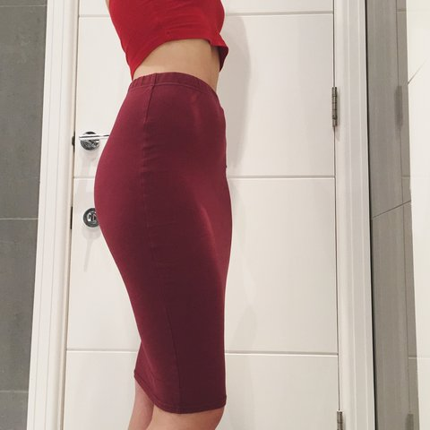 1c692b840a5d @maayanco. 3 years ago. London, UK. wine red knee length, high waisted  bodycon skirt from ASOS.
