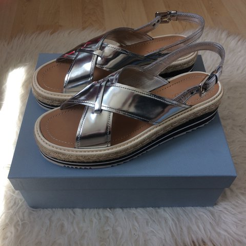 611f73b65 PRADA criss cross wedged sandals Bought last year
