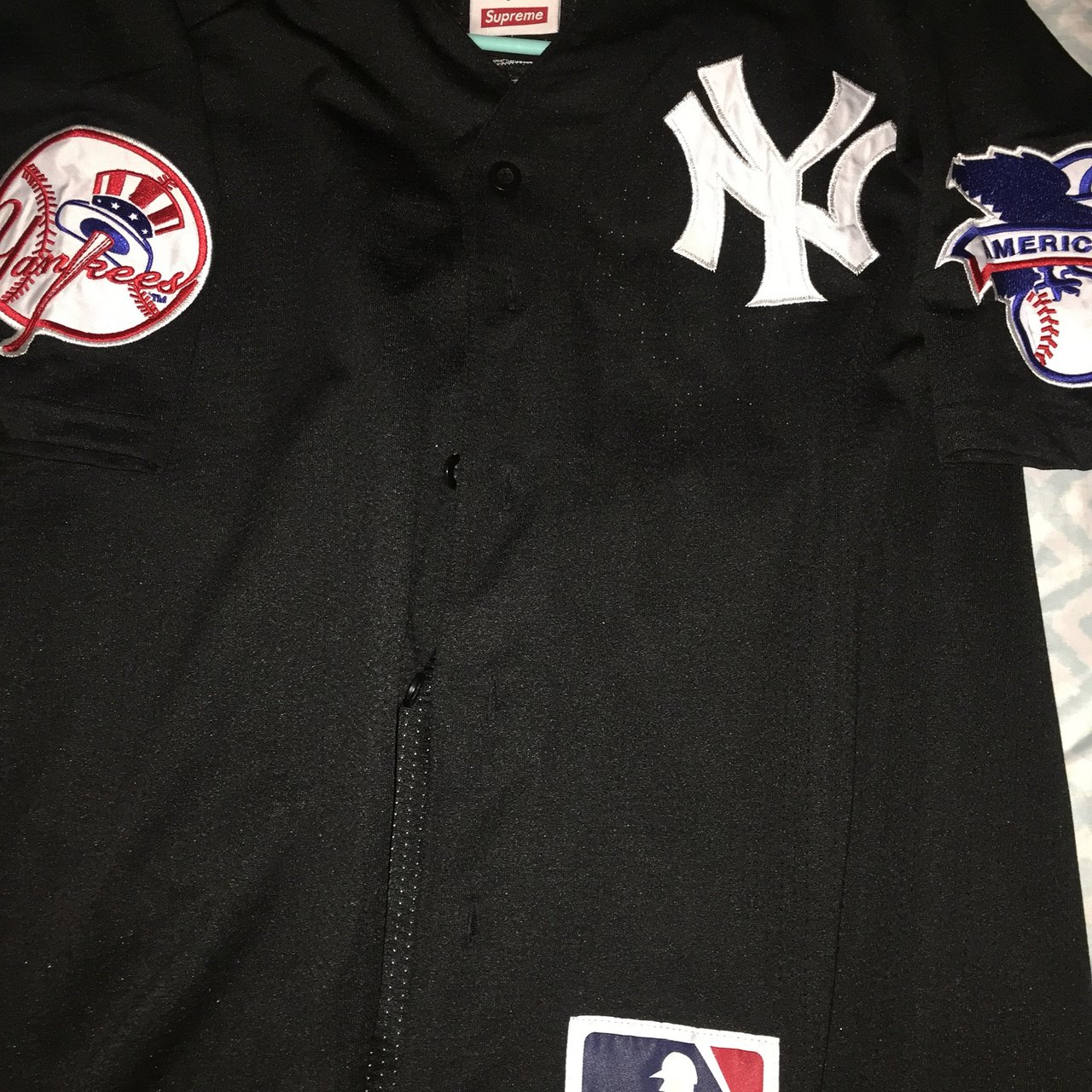 Supreme x Yankees Baseball Jersey Color  Black Size  9 10 - Depop 5c2c98f03fd