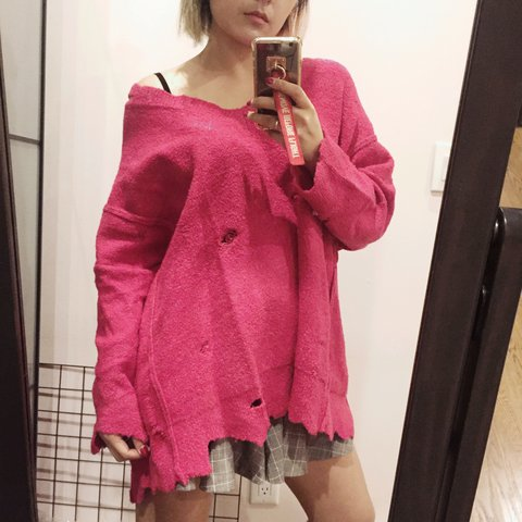 d008c4137a1 ZARA hot pink sweater. Oversized with scallop edge and - Depop