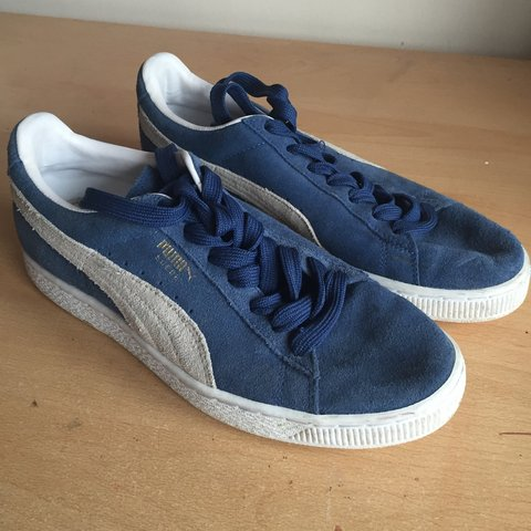 937ef14c32a75e Puma Suede shoes in blue and white. Size 6. Slightly worn be - Depop