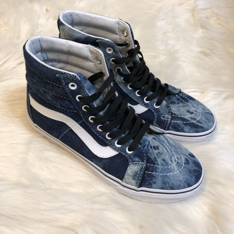 5e4945eac7 Denim acid wash vans sk8 hi. Worn once. Perfect condition. 9 - Depop