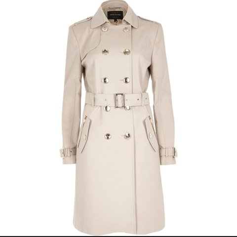 09bd8df57 River island long sleeve cream trench coat. Size 8 but would - Depop
