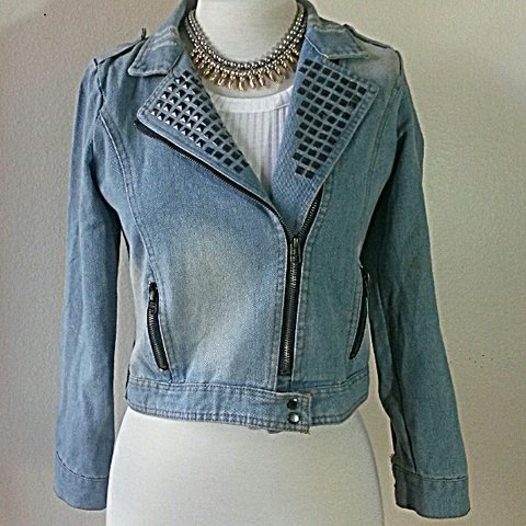 64bf9ac2cb9c90 Crop denim jacket with studded accents. Faux pockets though - Depop