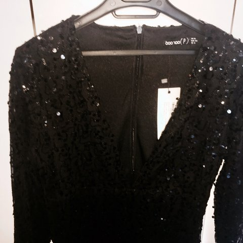 a1bf3a880b Boohoo Petite Deep Plunge Sequin Black Bodycon Dress. - Depop