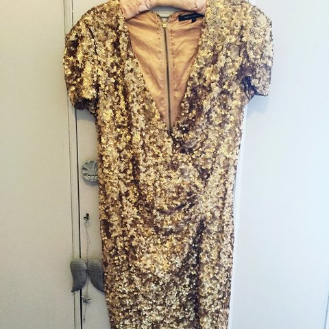5817db1f19e9 @missraine26. 3 years ago. United Kingdom. French Connection stunning gold  sequin dress.