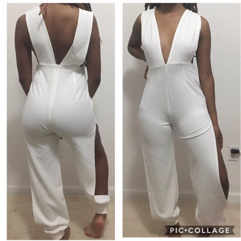 All white sexy jumpsuit