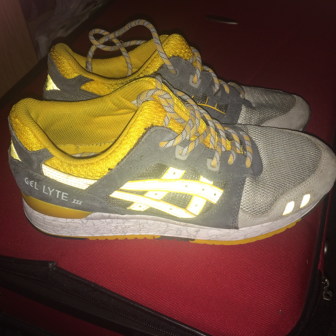 new styles b64dd 1d558 Asics Gel Lyte 3 reflective in yellow and grey. 8:10... - Depop