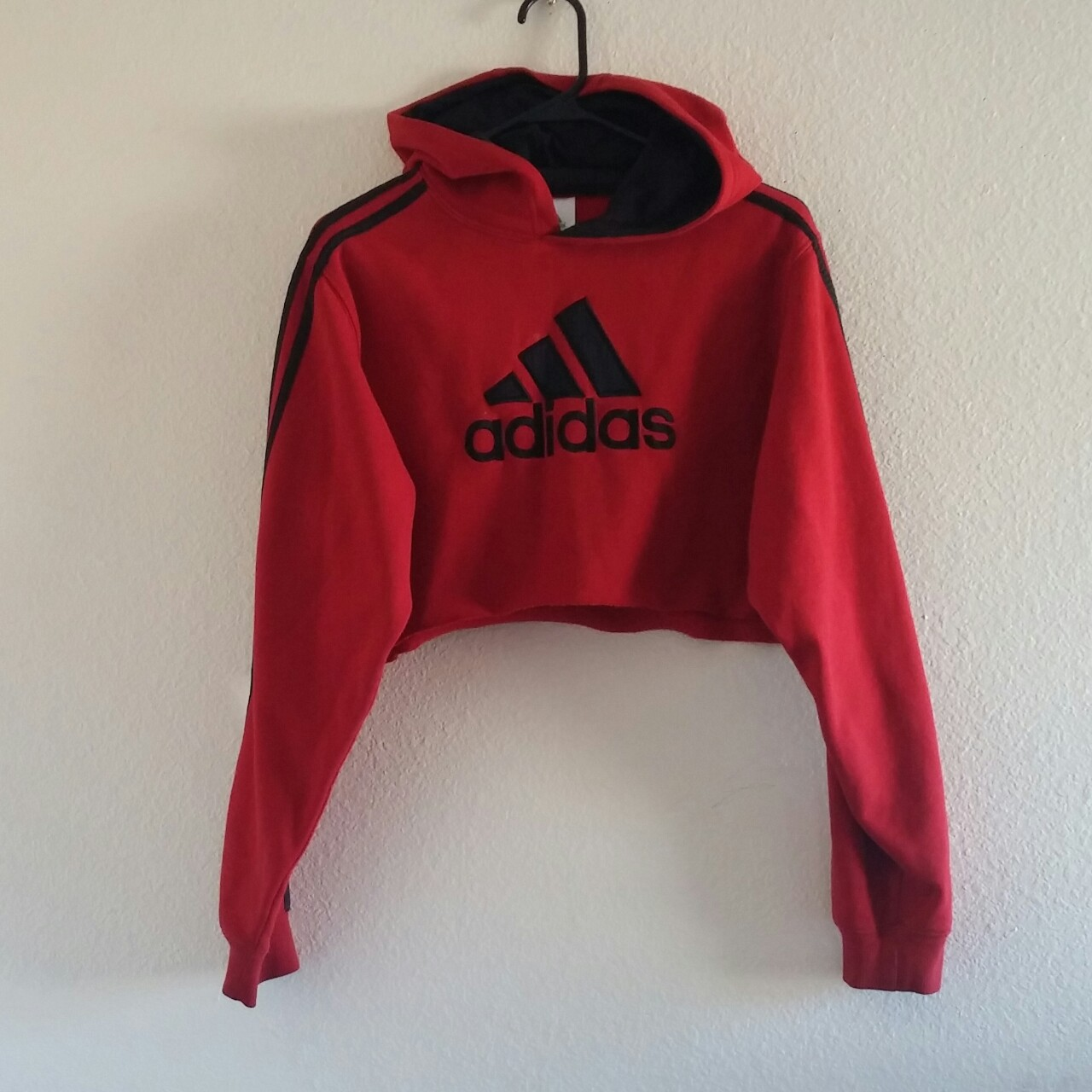 united states lowest price sneakers Red Adidas Cropped Hoodie In XL - Depop