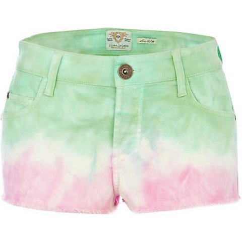 Pink and green dip dye River Island shorts. Size 8. Depop