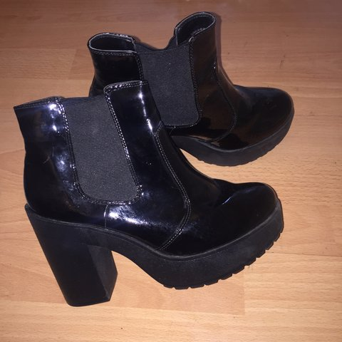 Black chunky patent heeled boots from New Look. Worn Depop