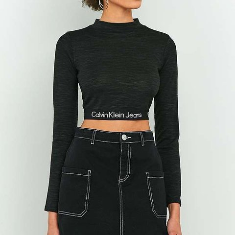 15385449f6a2c Calvin Klein long sleeve banded crop top size xs exclusive 6 - Depop