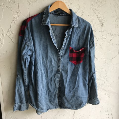 effd0f722f Forever 21 Denim Button Down Long Sleeve Shirt with Red and - Depop