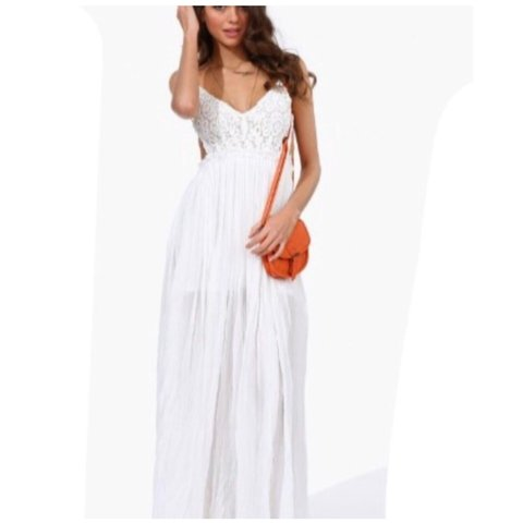 2580db7682 Selling this lovely white backless maxi dress. Size 8/10. on - Depop
