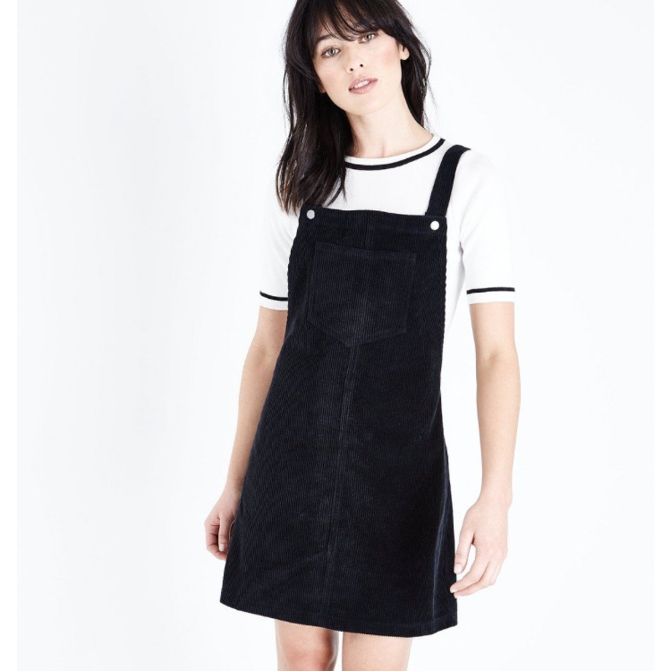 official store custom buy cheap Newlook black cord pinafore dress, oversized fit,... - Depop