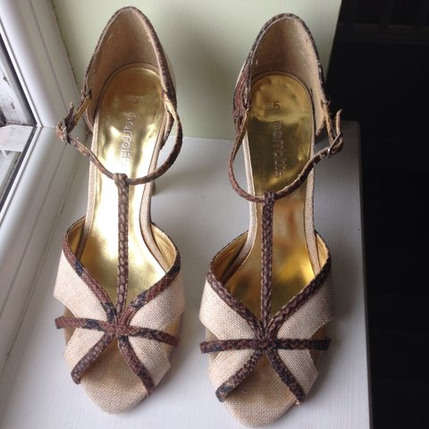 2342a1f78b Hessian and snakeskin t-bar strap stiletto sandals with Wear - Depop