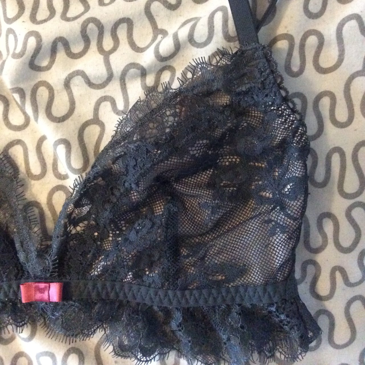 15145ccb417344 v pretty lace bralette🍾 Dark green   grey floral lacey lace - Depop