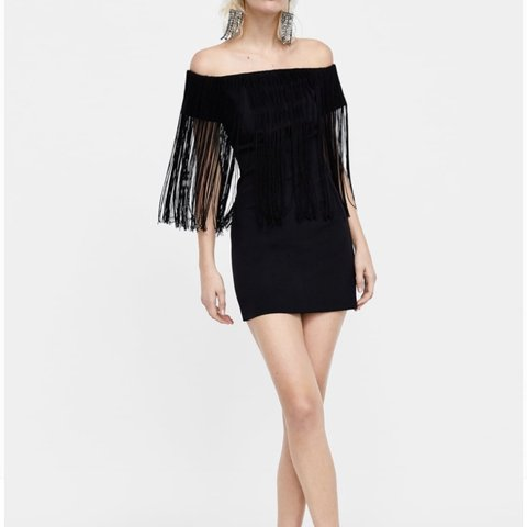 d374dee36e3 ZARA Off the shoulder black fringed tassel dress Worn once - Depop
