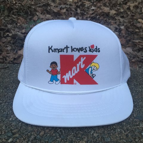 9e88bad8646bc Classic foam and mesh trucker hat with KMART LOVES KIDS on - Depop