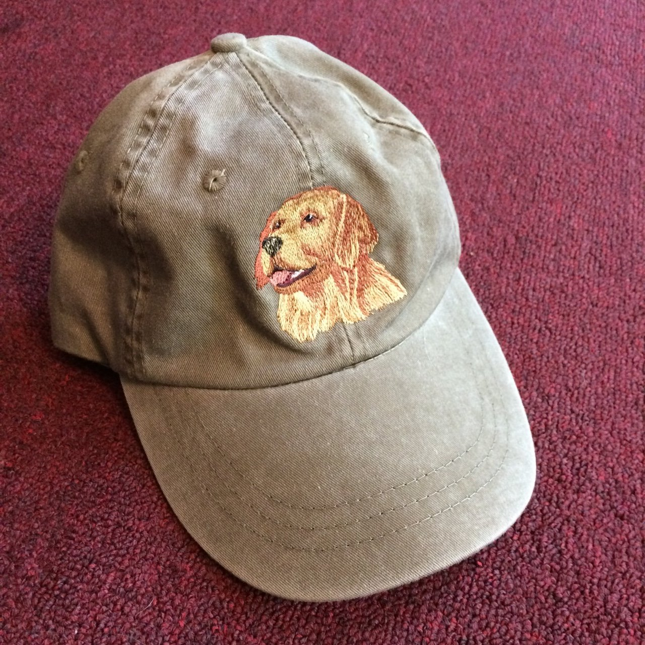 46643601964 Khaki baseball dad hat with embroidered dog patch on it 🐶 - Depop