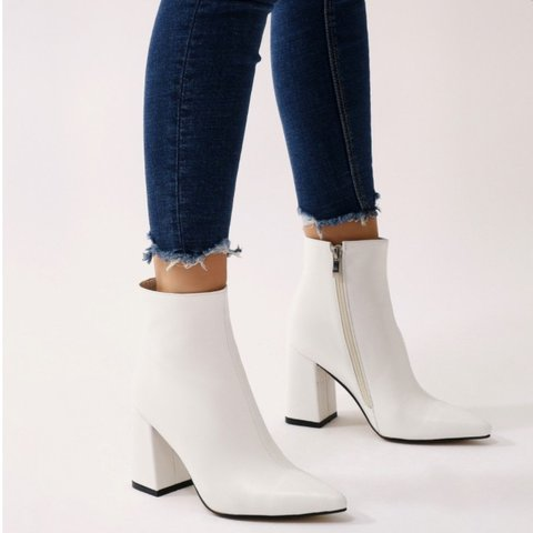 d0a1c5764b @libertybremner. 11 months ago. London, United Kingdom. Public Desire - White  Empire pointed toe ankle boots