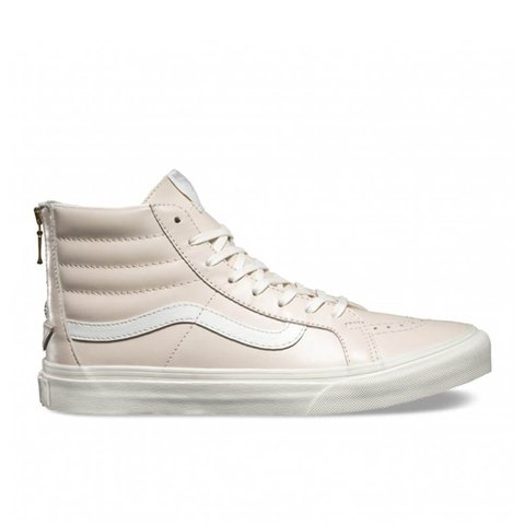 Pink leather high-top Vans Only warn a couple of times 1d4cf820c