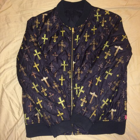 0c2480f7ff47 Supreme Crosses Reversible Bomber Jacket Size Medium 8 10 - Depop