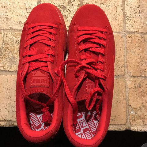 ceaf3aa23c29 spain puma x power through peace asia suede sneakers 5d767 cbb15  greece all  red suede pumas. i ordered a womens 9 and they sent me depop