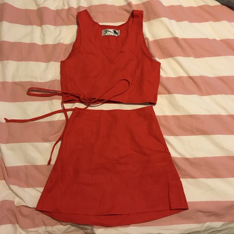 25eb7353359 Red co-ord mini skirt and top two piece set 💃🏻 Wrap crop a - Depop